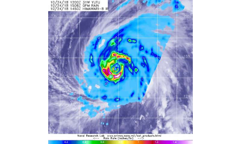 Satellite sees Supertyphoon Yutu's eye pass over Tinian