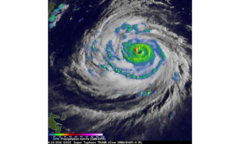 Super Typhoon Trami's rainfall examined by NASA/JAXA's GPM satellite