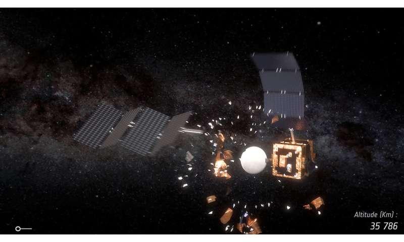 Space smash—simulating when satellites collide