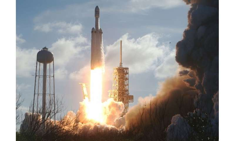 The SpaceX Falcon Heavy rocket lifts off in Cape Canaveral, Florida
