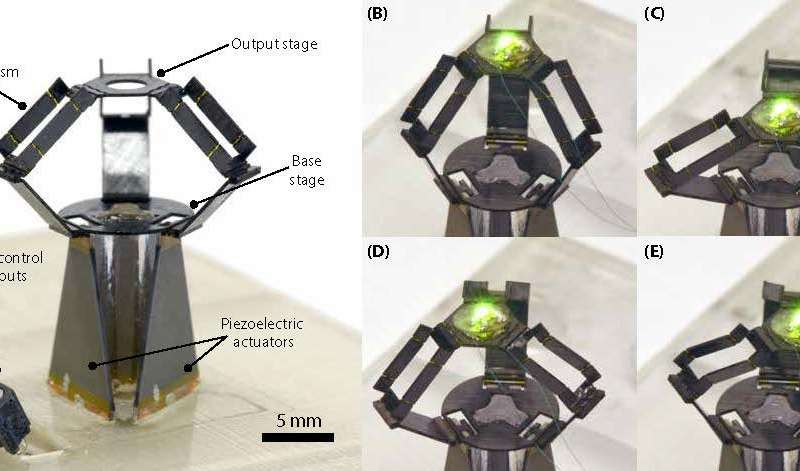 Small but fast: A miniaturized origami-inspired robot combines micrometer precision with high speed