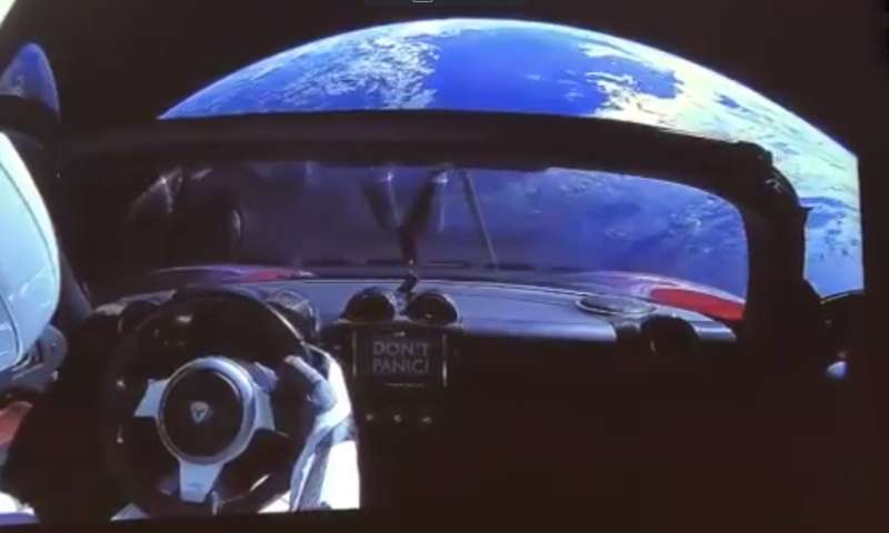 SpaceX beams cool video of Tesla in space