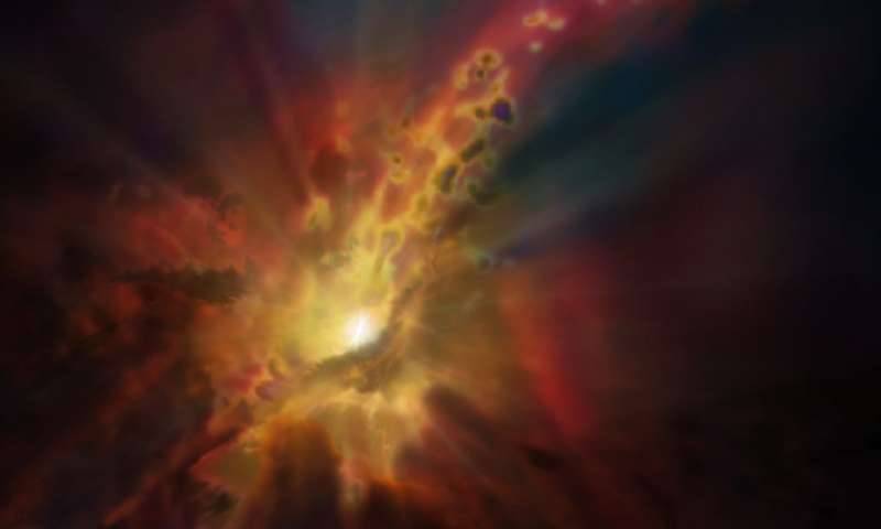 Galactic 'wind' stifling star formation is most distant yet seen