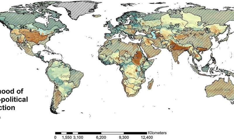 Global hotspots for potential water disputes
