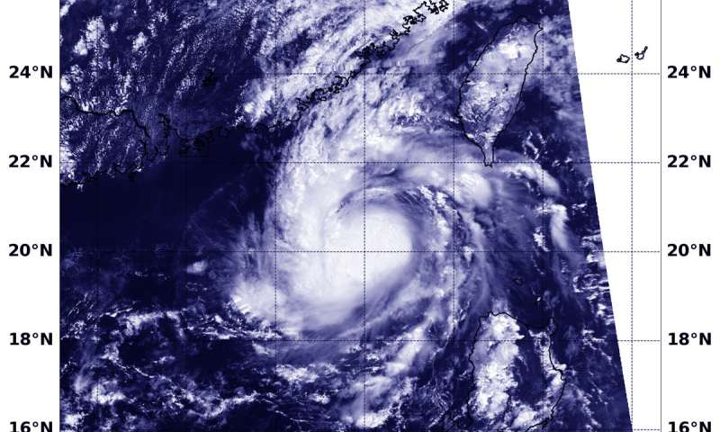 Tropical Storm Barijat appears disorganized to NASA-NOAA satellite