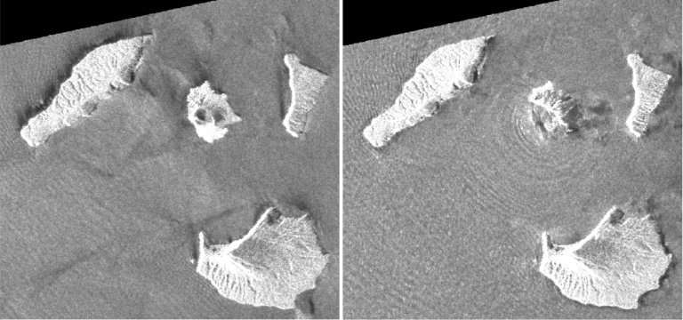 Satellite images from the Japan Aerospace Exploration Agency show the changes in Anak Krakatoa (C) before and after the eruption