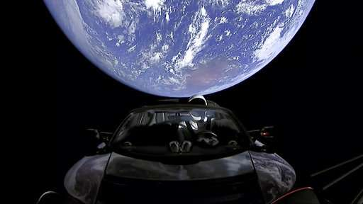 Space sports car now flying toward asteroid belt beyond Mars