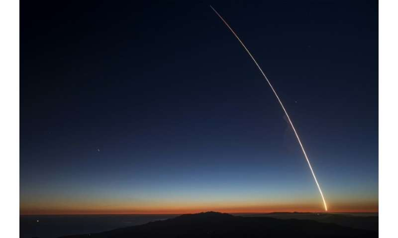 The SpaceX Falcon 9 rocket launches from Vandenberg Air Force Base carrying the SAOCOM 1A and ITASAT 1 satellites, as seen durin