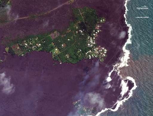 Volcano creates new land after lava fills Hawaii ocean bay