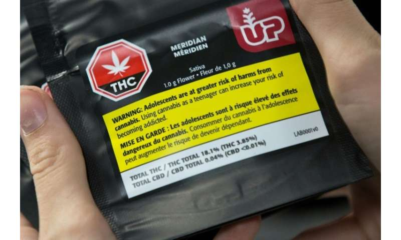 Aa warning label on 1gram of cannabis is seen at Up's cannabis factory in Lincoln, Ontario