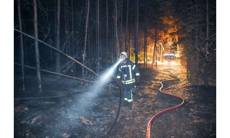 About 300 firefighters are trying to fight the blaze near Potsdam, which lies about 50 kilometres southwest of Berlin