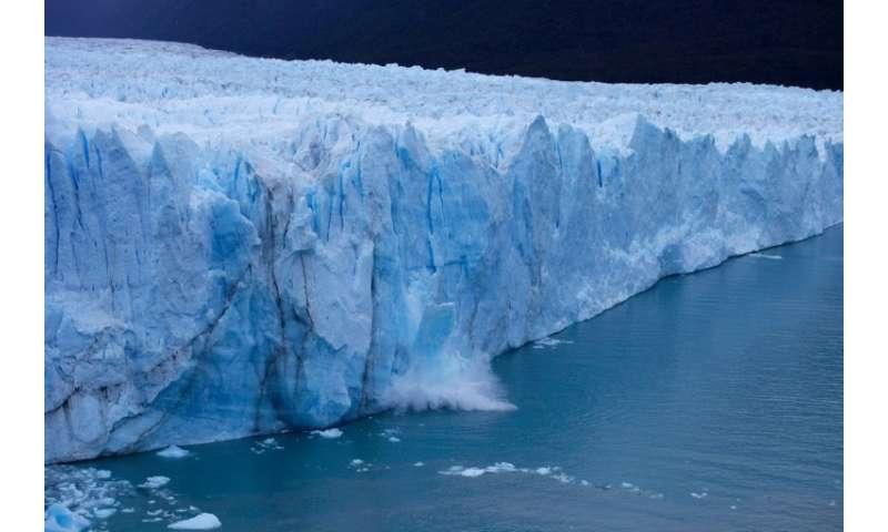 A chunck of ice falls from the Perito Moreno Glacier, at Los Glaciares National Park, near El Calafate in the Argentine province