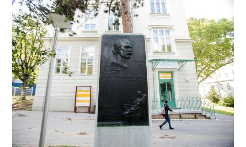 A commemorative plaque for pioneering scientist Ignaz Semmelweis at Vienna's general hospital where he  battled his peers to acc