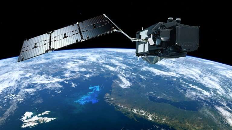 A composite of images of the Sentinel-3 satellite of the European Space Agency's Copernicus programme, which will monitor Earth'