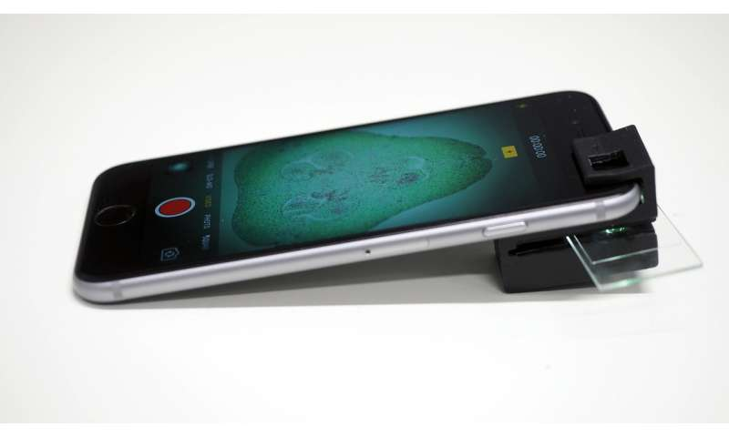 Add-on clip turns smartphone into fully operational microscope