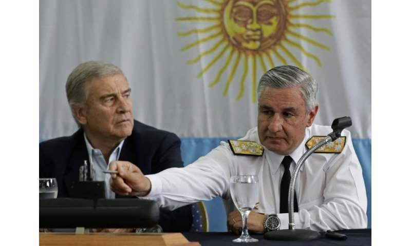 Admiral Jose Villan (R), the Argentinian navy's new head, explained that the particular relief of the seabed had complicated its