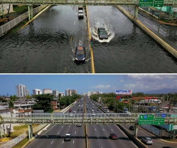 A flooded highway in San Juan, Puerto Rico on  September 21, 2017, in the immediate aftermath of Hurrican Maria (above), and six