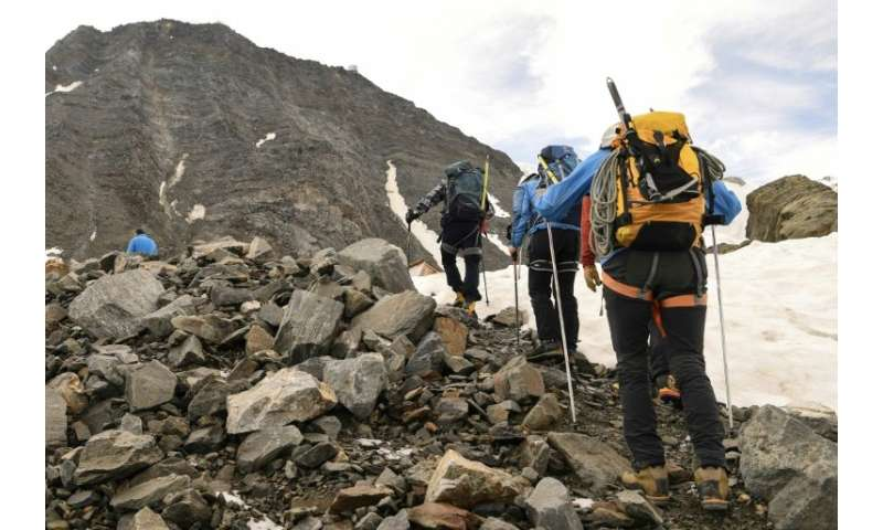 A group of climbers on their way to the Gouter corridor, where rockslides have become a growing risk for the dozens of people ho