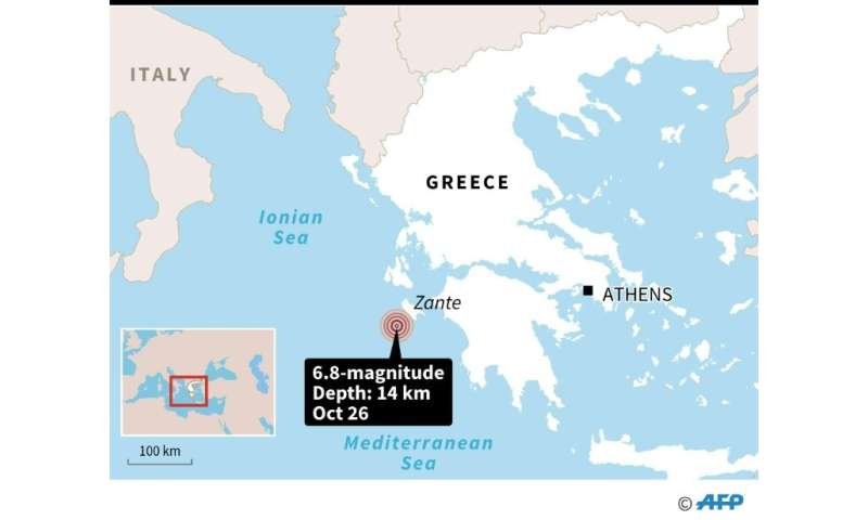 A map locating the 6.8 magnitude earthquake in Greece
