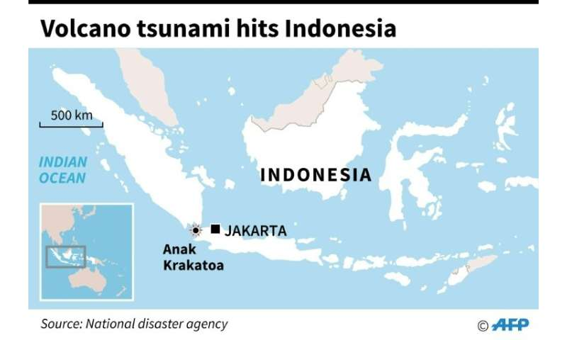 A map of Indonesia shows where the tsunami hit