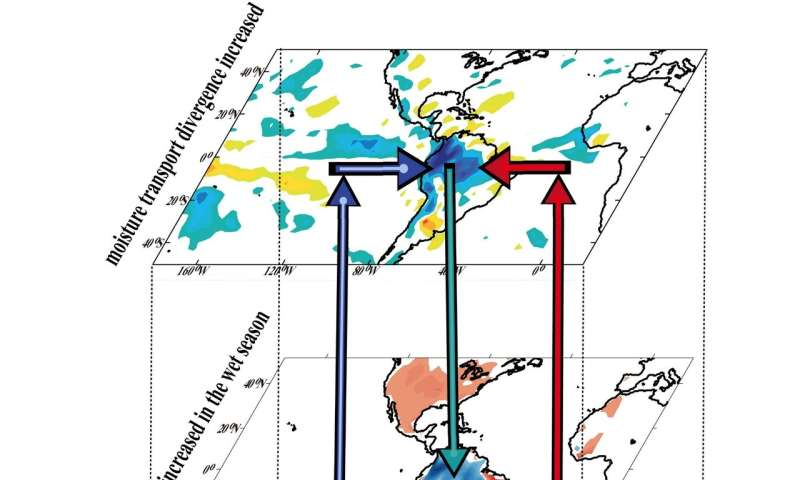 Amazonian rainfall increases in wet season