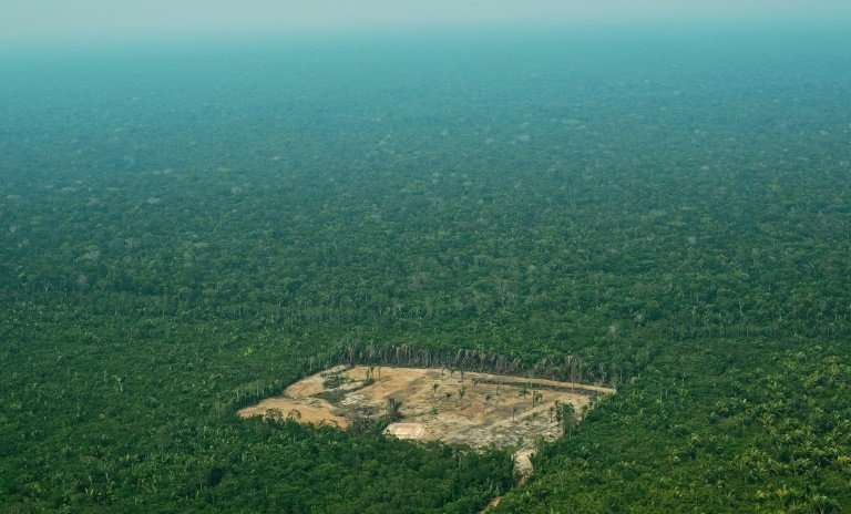 An aerial photo from September 2017 showing an area of deforestation in the western Amazon region of Brazil