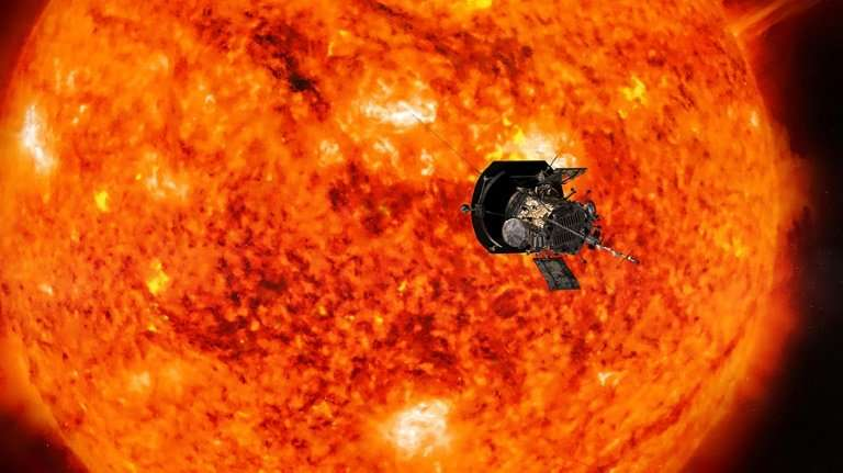 An artist's conception of NASA's Parker Solar Probe, the spacecraft that will fly through the Sun's corona to trace how energy a