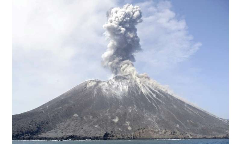 An eruption by the Anak Krakatau volcano, pictured in July, triggered the deadly tsunami that struck Indonesia