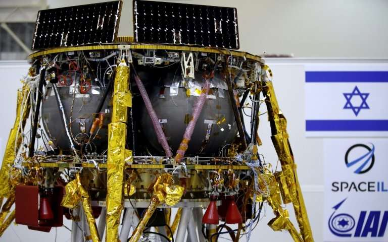 An Israeli Aerospace Industries space probe is displayed during a Tel Aviv press conference on July 10, 2018