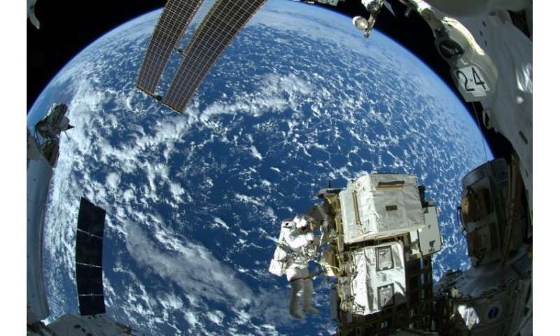 A photo released by NASA taken from the International Space Station on October 7, 2014