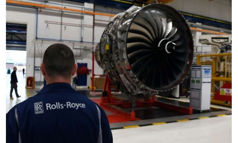 A Rolls-Royce Trent XWB aircraft engine on the assembly line at the firm's factory in Derby, England.