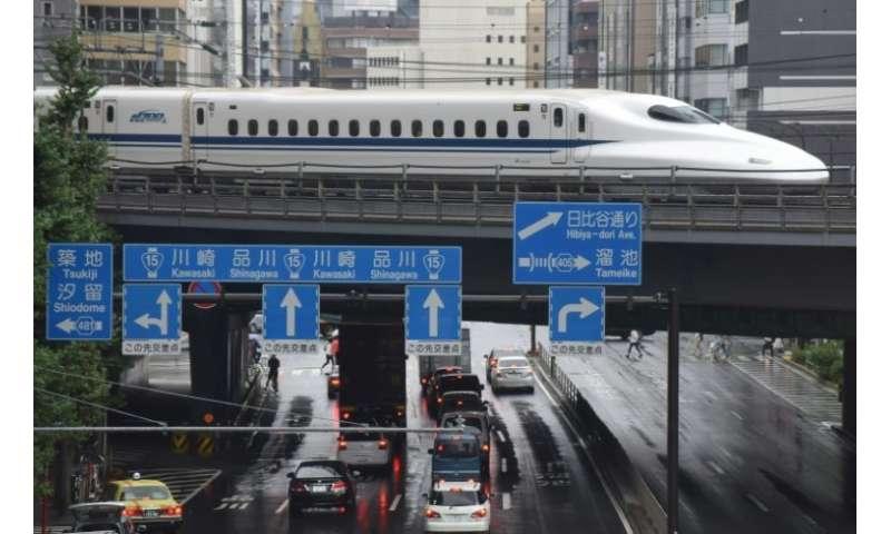 A Shinkansen bullet train in Tokyo