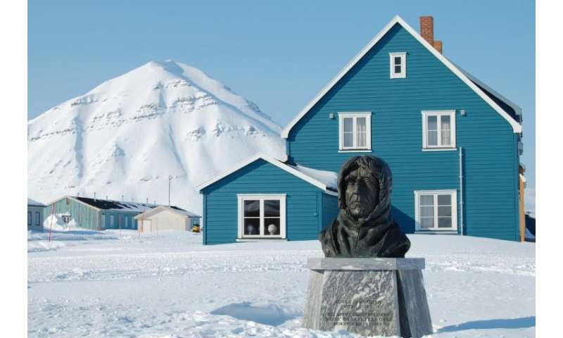 A statue of  Norwegian polar explorer Roald Amundsen whose iconic ship the Maud returned home on Monday 100 years after setting
