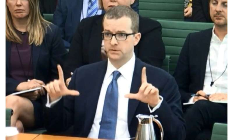 A still image the UK's Parliamentary Recording Unit shows Facebook's chief technology officer Mike Schroepfer being grilled by M
