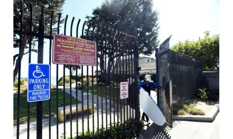 At Privates Beach in the Opal Cliffs area of Santa Cruz, California, there is a $100 annual access fee and an imposing gate, eve