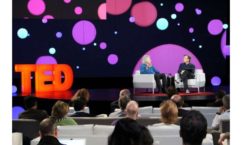 Author and cognitive science professor Steven Pinker (L), speaking with TED Conference curator Chris Anderson, told the big-idea