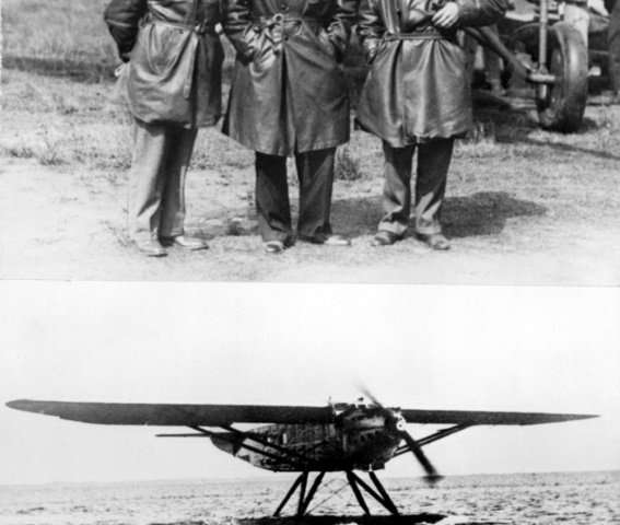 Aviators Jean Dabry (L), Leopold Gimie (R) and Jean Mermoz flew the first commercial crossing of the South Atlantic in May 1930