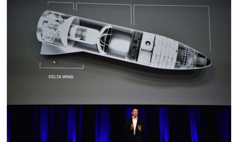 """Billionaire and SpaceX founder Elon Musk displays a computer generated illustration of his new """"BFR"""" rocket, conceived"""