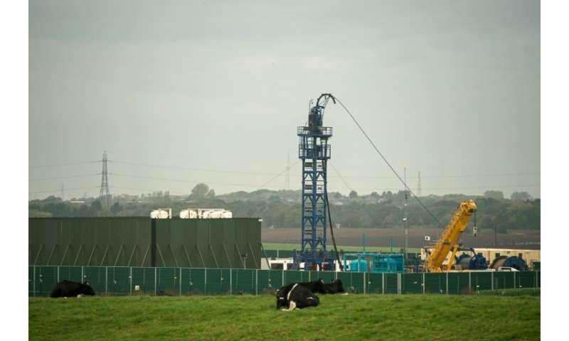 Cuadrilla's Preston New Road drilling site near the village of Little Plumpton in northwestern England last month