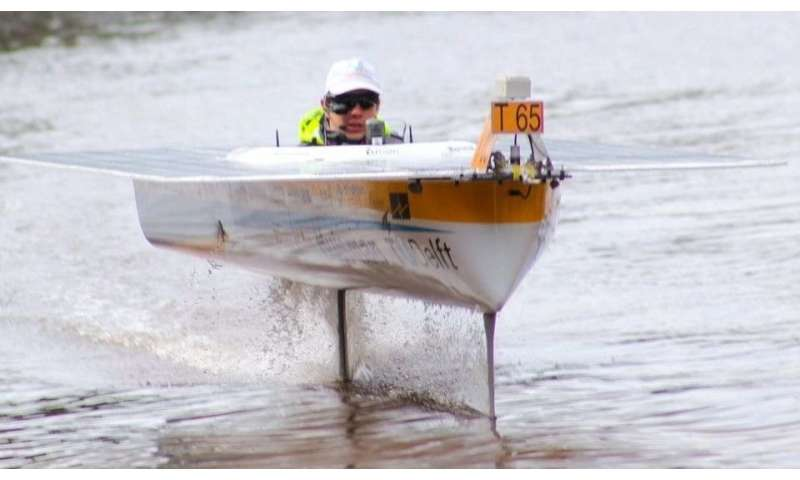 Cycling motion keeps hydrofoils upright during flight
