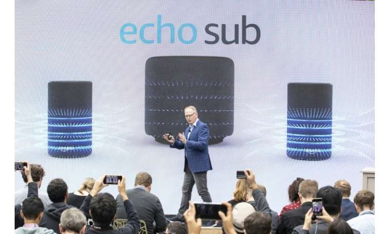 "David Limp, Senior Vice President of Amazon Devices, introduces the ""Echo Sub"" speaker, one of more than 70 Alexa digi"