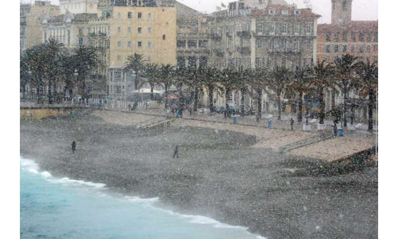 Even the Mediterranean city of Nice has seen snow fall this week
