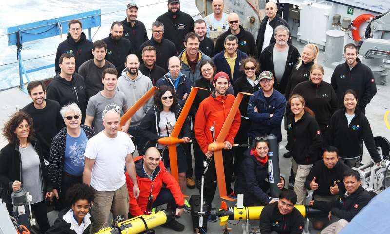 Fleet of aerial, surface, and underwater robots maps ocean front