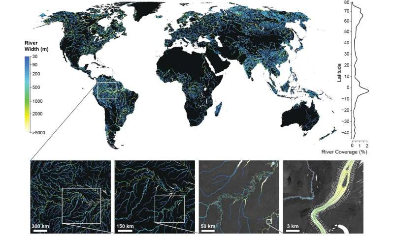 Global surface area of rivers and streams is 45 percent higher than previously thought