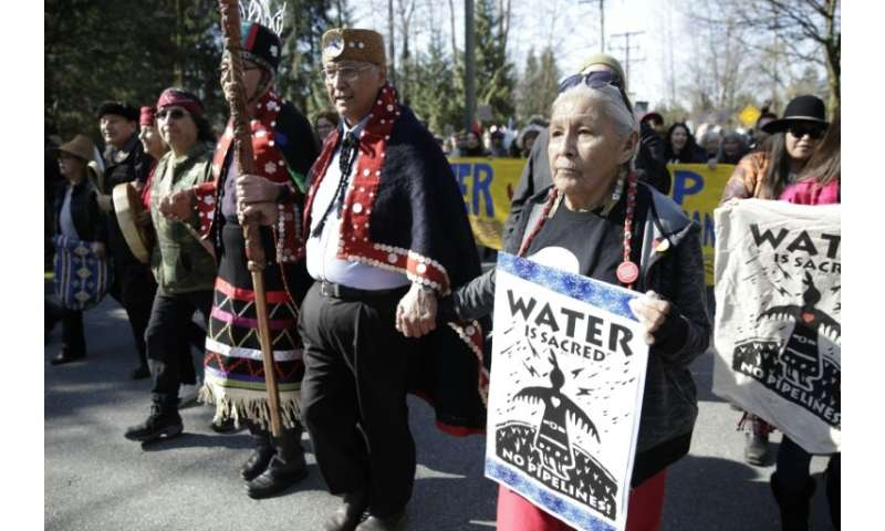 Harriet Prince (R), 76, of the Anishinaabe tribe marches with Coast Salish Water Protectors and others against the expansion of