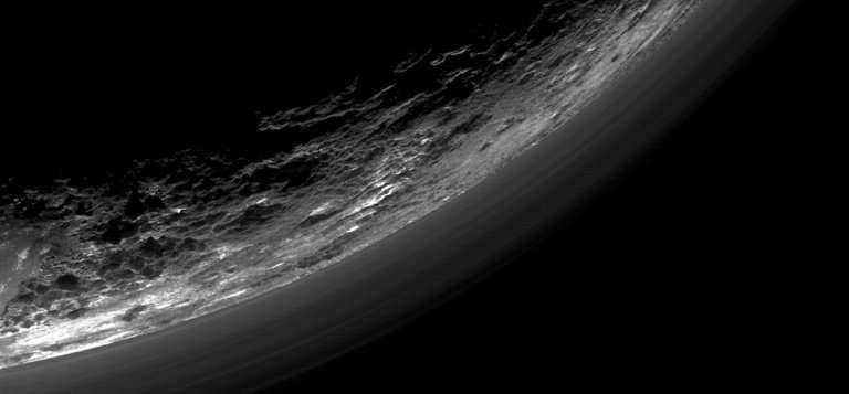 Haze layers above Pluto's limb, taken by the Ralph/Multispectral Visible Imaging Camera (MVIC) on NASA's New Horizons spacecraft