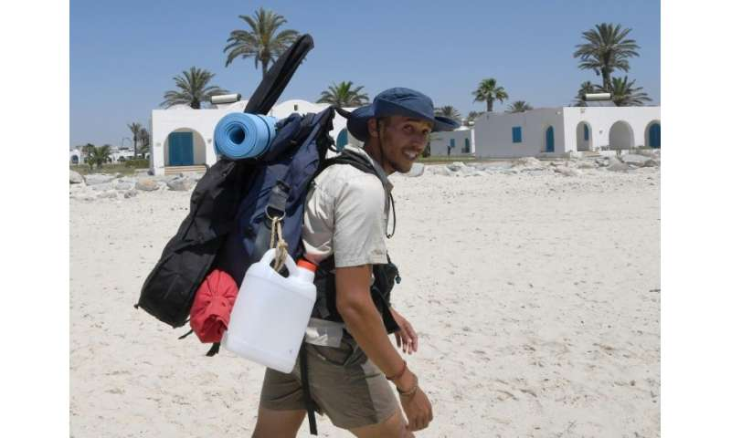Houij hopes his two-month trek will help convince authorities, holidaymakers and average Tunisians that the sea should not be us