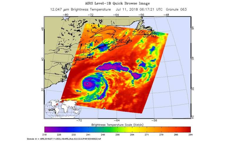 Hurricane Chris's eye stares at NASA's Aqua satellite