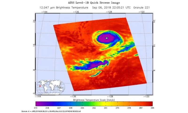 Hurricane Olivia's eye obvious from NASA's Aqua satellite