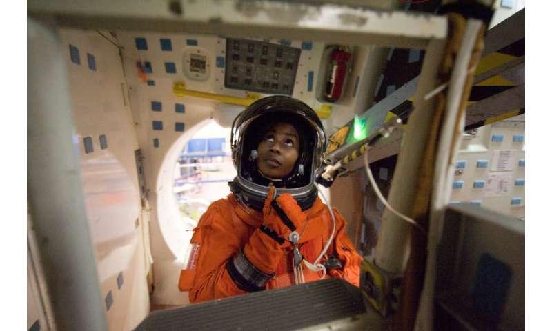 Image: NASA astronaut Stephanie Wilson preparing for space